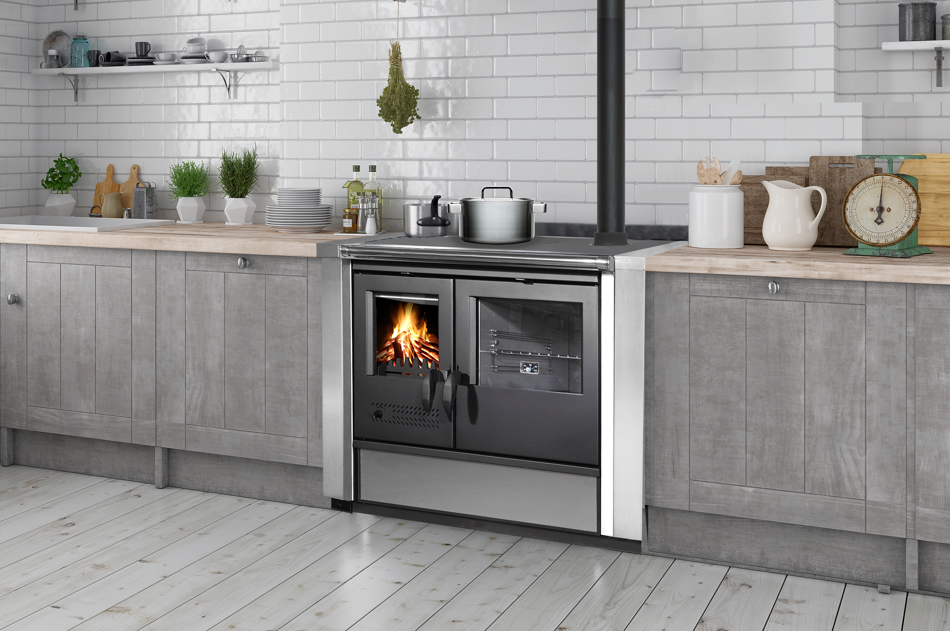 Wood stoves and cookers in hydro version
